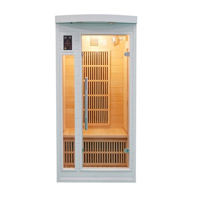 Sauna infrarouge soleil blanc 1 place france sauna - Sauna infrarouge 1 place ...
